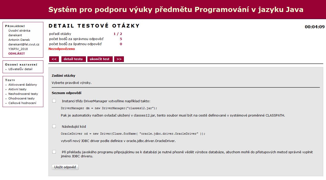 Systém pro podporu výuky předmětu Programování v jazyku Java.