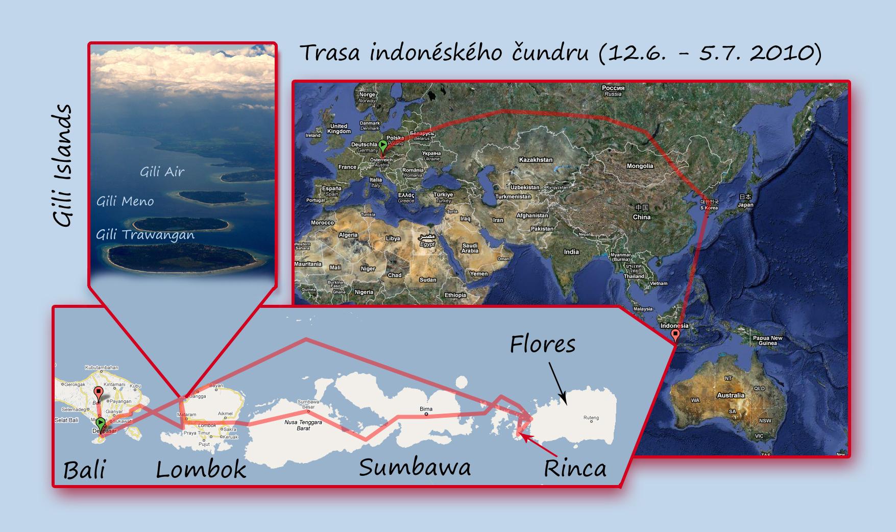 Indonésie mapa cesty