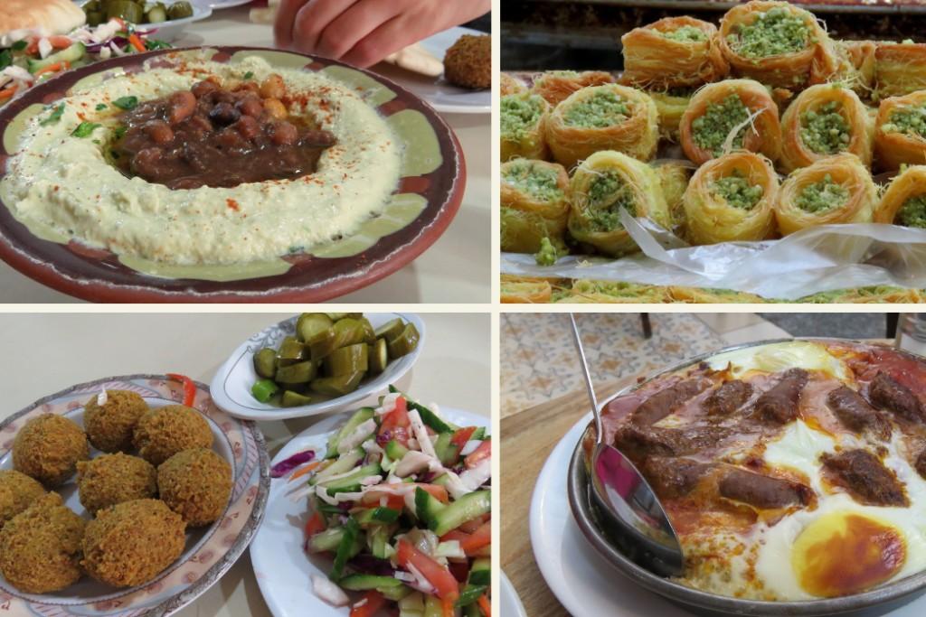 hummus, dezert s pistáciemi, falafel a shakshuka
